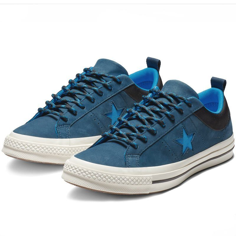 Converse boty One Star Sierra Leather Low Top Blue Fir angle