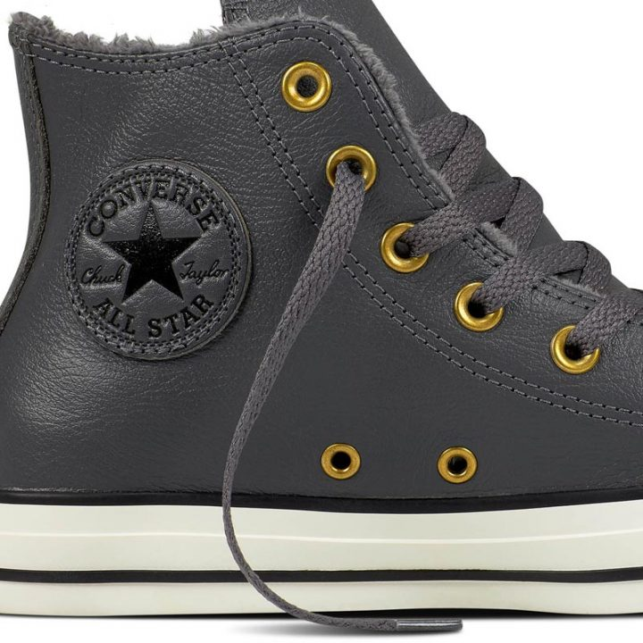 Converse boty Chuck Taylor Leather + Fur Hi Thunder close