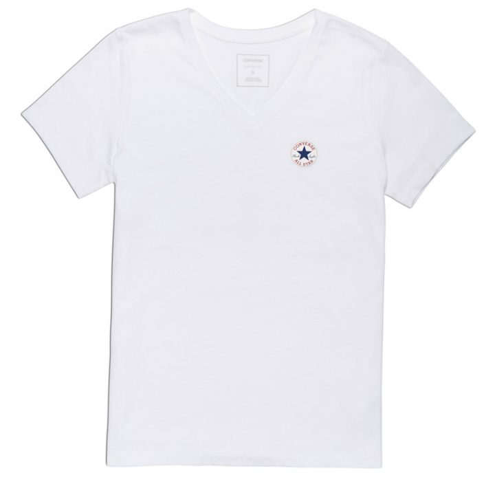 damske tricko Converse Core Triblned TPU Vneck Tee White front