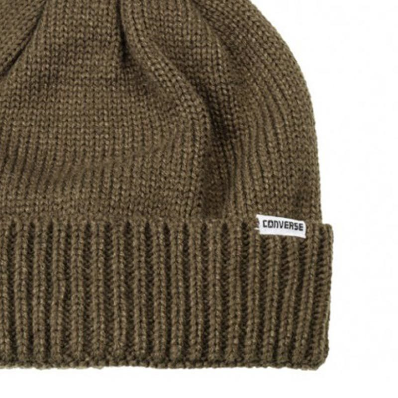 Dámské čepice Converse Fur Pom Knit Olive